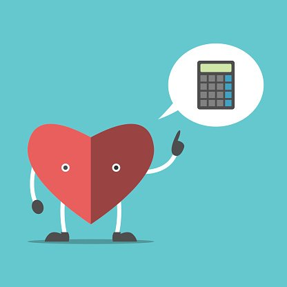 Thinking heart with calculator
