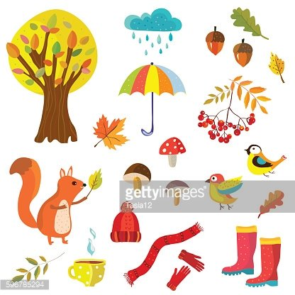 Autumn collection illustration with nature elements and animals