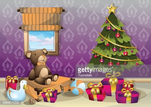 cartoon vector illustration interior Christmas room with separated layers