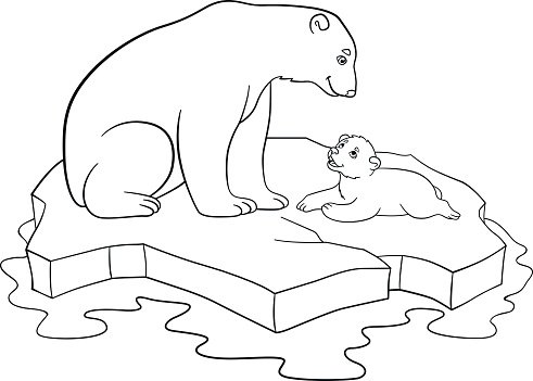 Coloring Pages Mother Polar Bear With Her Cute Baby Clipart Image