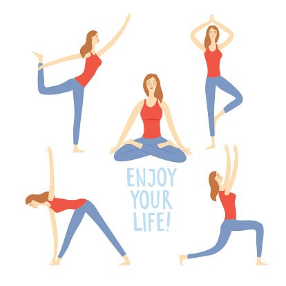 Cartoon Set of Girls Doing Yoga Exercises premium clipart