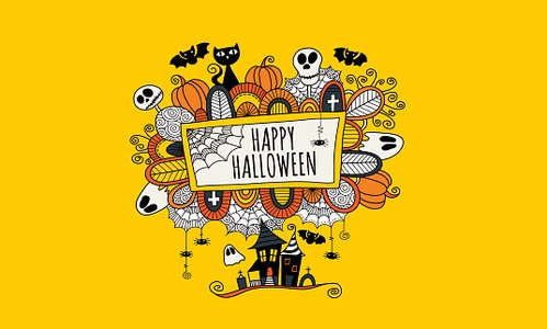Happy Halloween Hand Drawn Doodle Vector Yellow Background Clipart Image