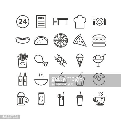 Collection of 25 fast food outline icons