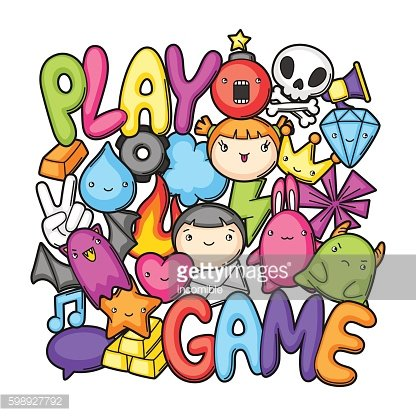 Game kawaii print. Cute gaming design elements, objects and symbols