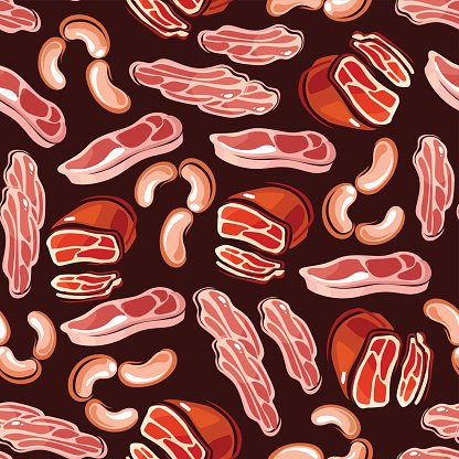Meat, sausages, bacon seamless background