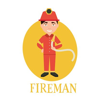 Profession fireman. young man working as a . vector illustration