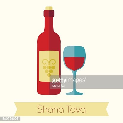 Bottle of wine and glass. Rosh Hashanah icon