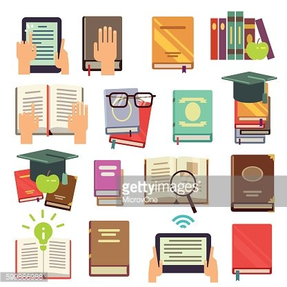 Library, books reading flat vector icons