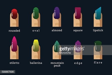 Different nail shapes and polish colors vector icons