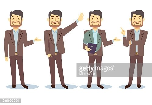 Businessman cartoon character in different poses for business presentation vector