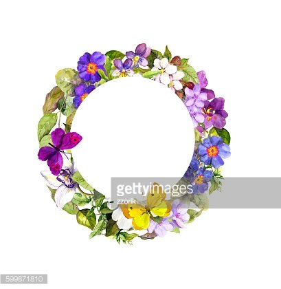 Floral wreath - meadow flowers, wild grass and spring butterflies