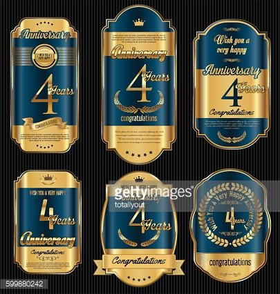Anniversary golden retro vintage labels collection 4 years