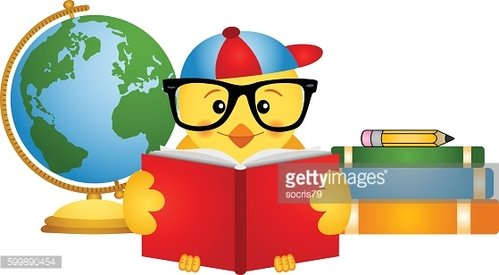 Chick reading book with globe