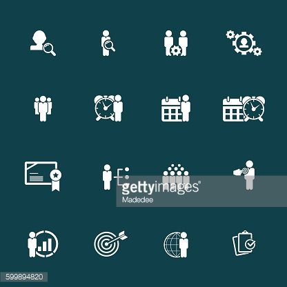 Business management, strategy or human resource icons