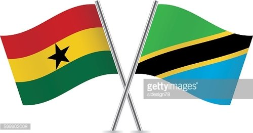 Ghana and Tanzania flags. Vector.