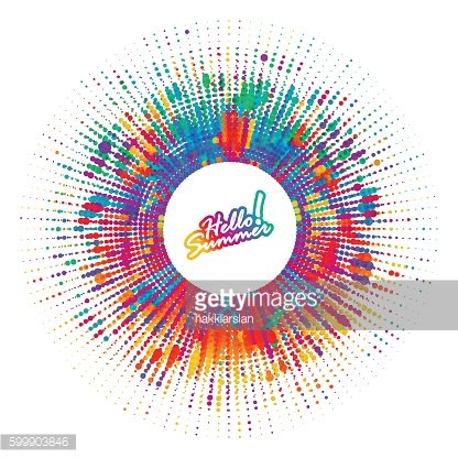 Hello summer! Abstract color splash dotted background.