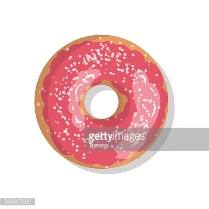 Tasty pink sweet donut icon with sprinkles isolated on white