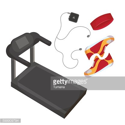 Running shoes, music player, head band and treadmill icon