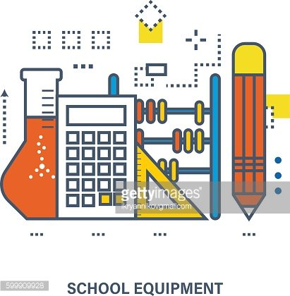 Concept of school equipment and education.