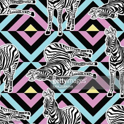 Abstract hand painted seamless animal background. Zebra pattern