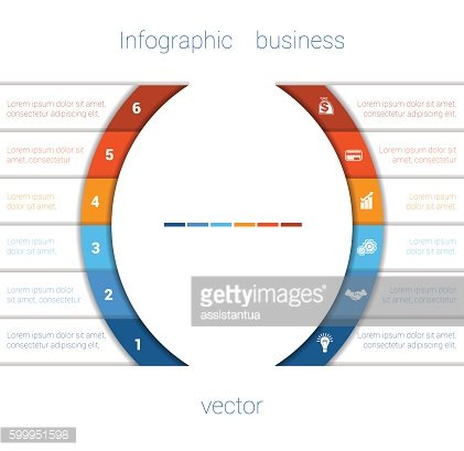 Infographic Strips and semicircle 6