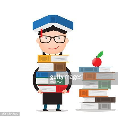 student stands and holds a large bundle of books
