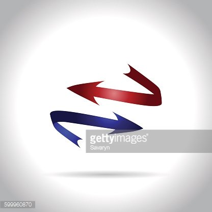 red and blue arrows