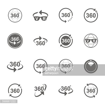 Set of Angle 360 degrees sign icons