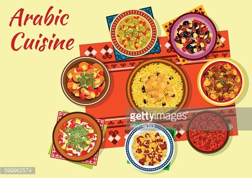 Arabic cuisine rich and flavorful dishes icon