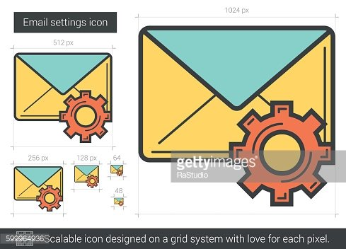 Email settings line icon.