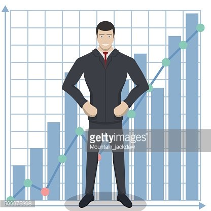 Business theme illustration. Young businessman ready for achievements.