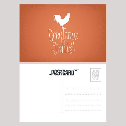 France vector postcard design with French symbol rooster, chicken