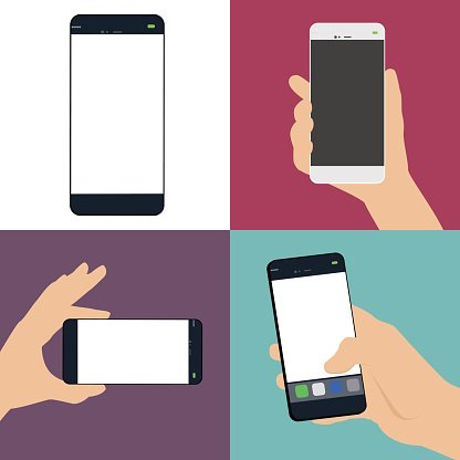 Set of human hand holding a smart phone