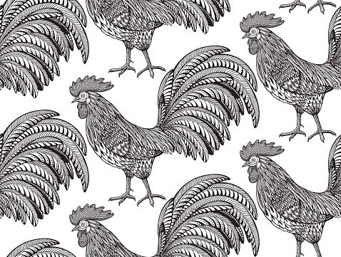 Black and white seamless pattern with hand drawn fiery roosters