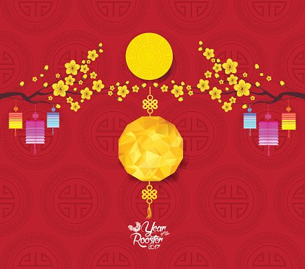 Oriental Chinese New Year Hintergrund MIT Polygonalen Laterne ...