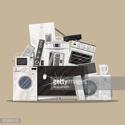 e-waste electrical and electronic equipment pile
