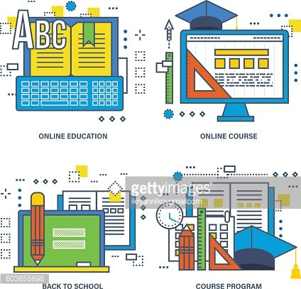 Concept of course program, online education, back to school.