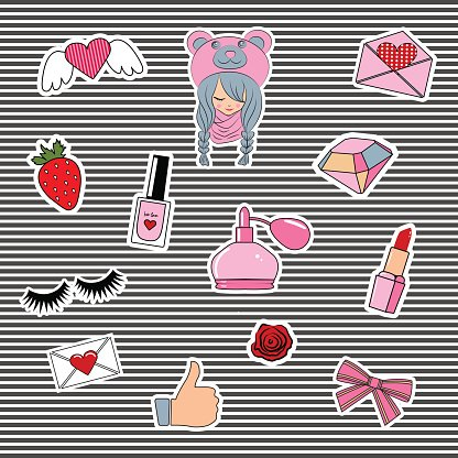 Fashion patch badges with lips, hearts,
