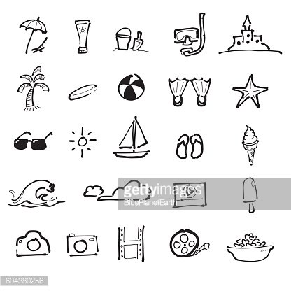 Summer vacation on beach drawing icons set