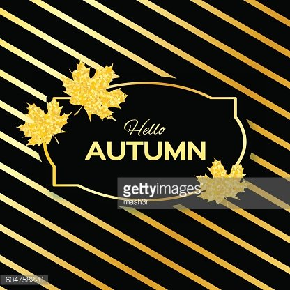 Hello Autumn. Greeting card with seasonal maple leaves.