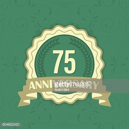 75th anniversary vector label on a green ornament background.