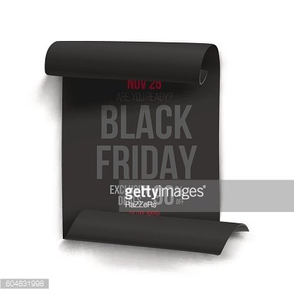 Realistic Black Friday Sale Curved Ribbon Banner Template. Folde
