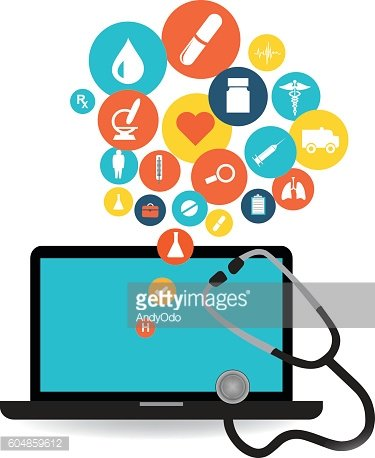 Laptop and healthcare application icon set