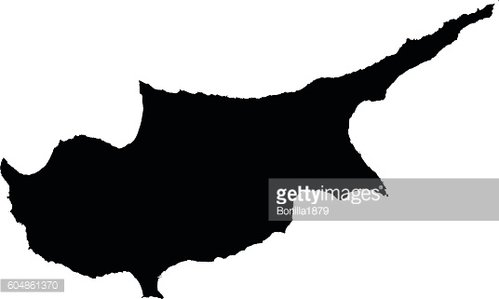 Cyprus black map on white background vector
