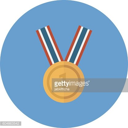 Golden Blank Medal Award with Ribbon for Games. Achievement Icon