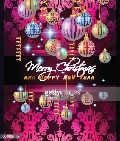 Christmas Modern Background with balls and star lights