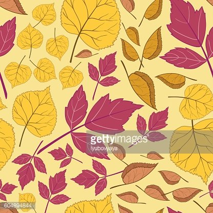 Pattern with leaves on a yellow