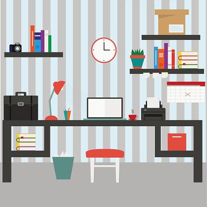Home workplace flat vector design.