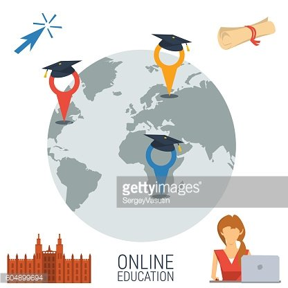 Online education concept with four icons