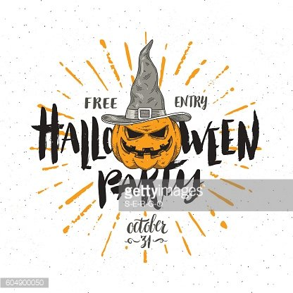 Halloween party invitation with pumpkin in a witch hat